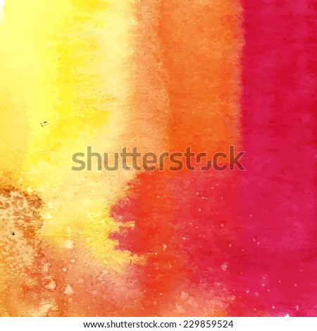 Vector pink orange yellow stripes watercolor texture. Grunge template for your design. Composition for scrapbooking. - stock vector