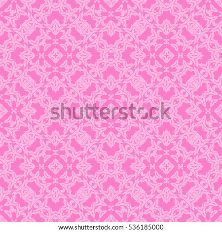 Vector Pink Ornamental Seamless Line Pattern. Endless Texture. Oriental Geometric Ornament