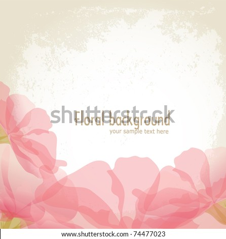 vector pink petals of a flower on grunge background - stock vector