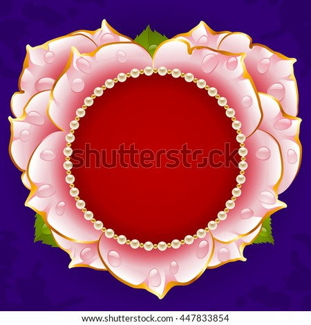 Vector pink Rose heart frame with pearl necklace