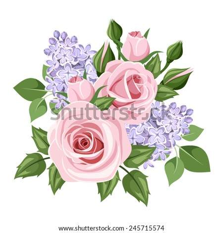 Vector pink roses and lilac flowers isolated on a white background. - stock vector