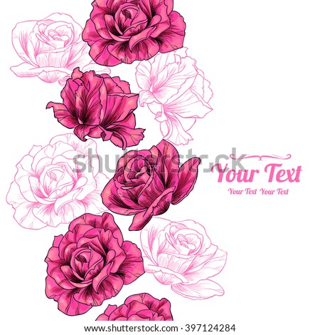 Vector pink  roses flowers vertical frame seamless pattern background . Invitation or greeting card design.Vector illustration