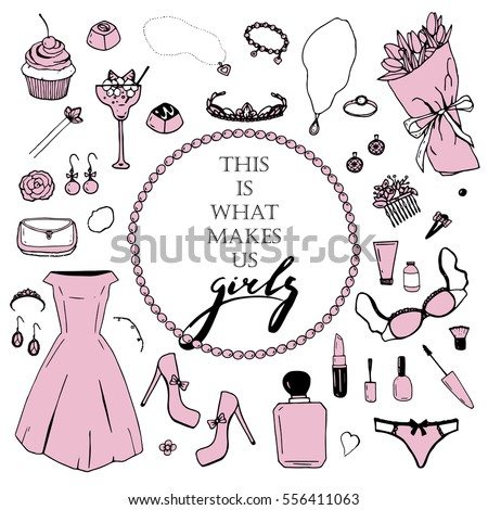 Vector pink set of girl's items with handwriting phrase in the middle