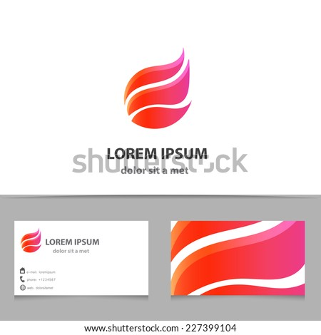 Vector pink shape logo with business card - stock vector