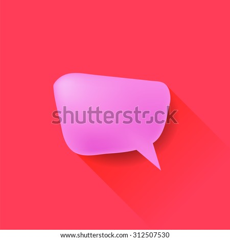 Vector Pink Speech Bubble Isolated on Red Background. Long Shadow