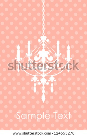 Vector pink spotted background with chandelier