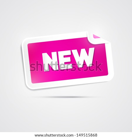 Vector Pink Sticker with New Title Isolated on Grey Background