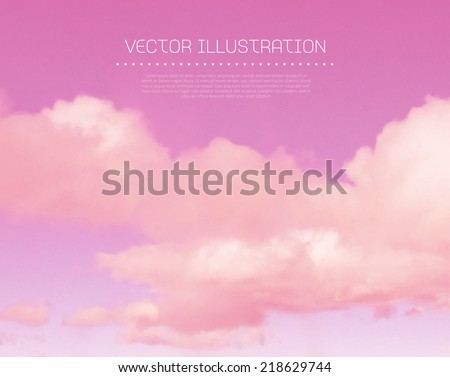 Vector pink sunset sky with clouds - stock vector