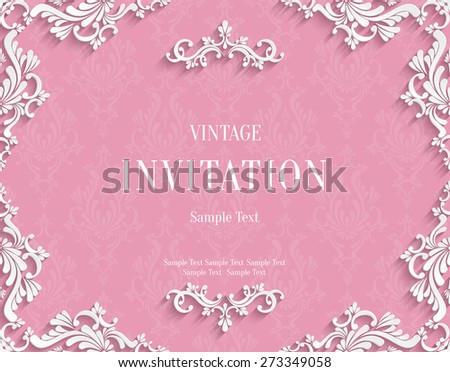Vector Pink Vintage Background with 3d Floral Damask Pattern Template for Greeting or Invitation Card Design in Paper Cut Style - stock vector