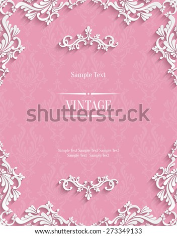 Vector Pink Vintage Background with 3d Floral Damask Pattern Template for Greeting or Invitation Card Design in Paper Cut Style