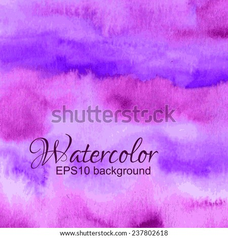 Vector pink, violet, purple and magenta watercolor background. - stock vector