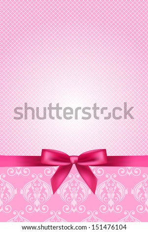 Vector pink wallpaper with bow - stock vector