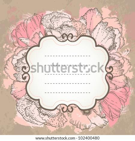 Vector pink wedding floral grunge background. Hand drawn illustration. - stock vector
