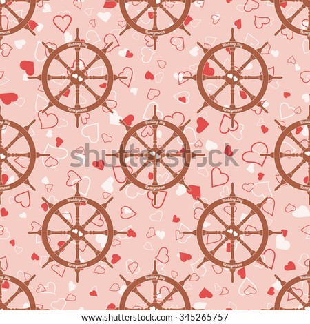 Vector pink wedding seamless pattern with steering wheel with hearts. Element for your wedding designs, valentines day projects, and other your romantic projects.