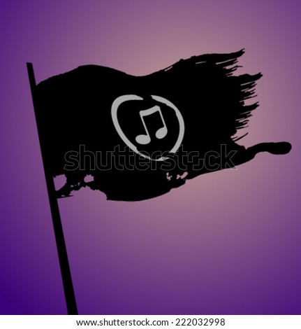 Vector pirate flag music - stock vector