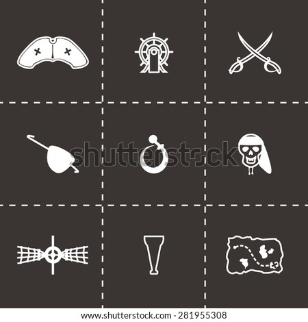 Vector Pirate icon set on black background - stock vector