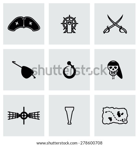 Vector Pirate icon set on grey background - stock vector