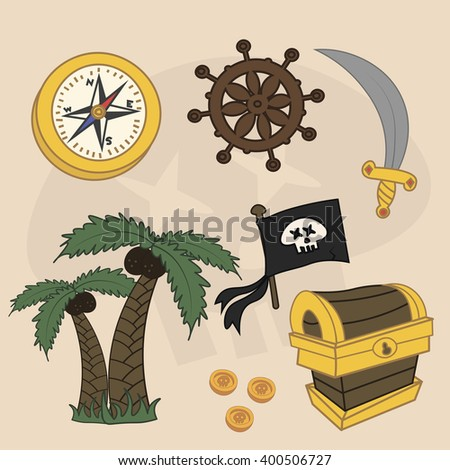 Vector pirate set. Sword, steering wheel, compass, chest of gold, palm tree, pirate flag