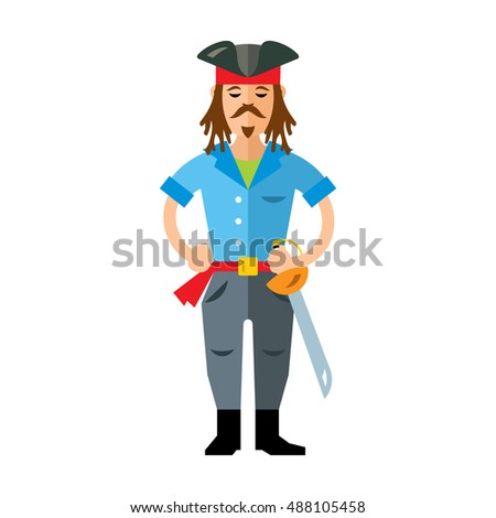 Vector Pirate with saword. Flat style colorful Cartoon illustration.