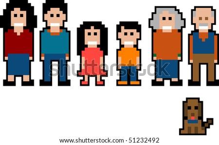 Vector Pixel art collection - family - stock vector