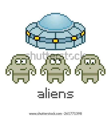 Vector pixel art cute aliens and UFO - stock vector