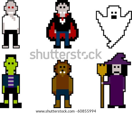 vector pixel art halloween - stock vector