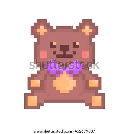 Vector pixel art illustration, kind smiling and blushing sitting stuffed brown toy bear with violet bow isolated on white background. Teddy bear icon.