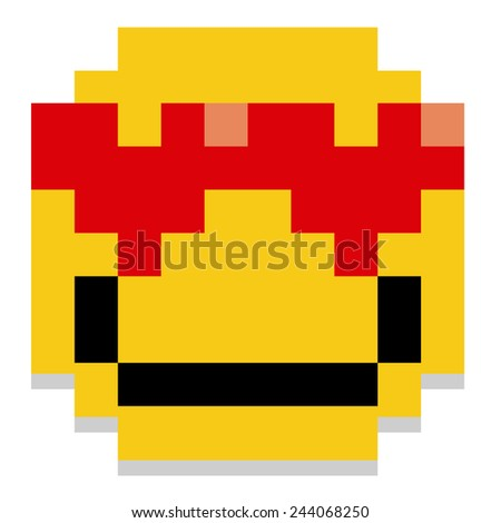 Vector Pixel Cartoon In Love Face Isolated - stock vector