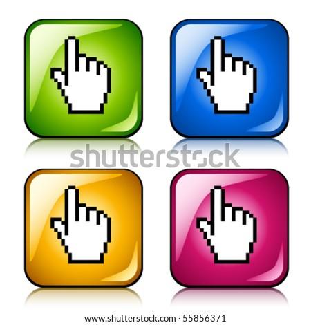 vector pixel cursor hand buttons - stock vector