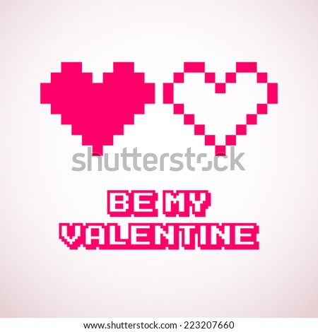 Vector pixel hearts for Valentine's day cards designs - stock vector