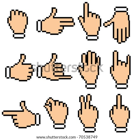 vector pixelated cursor hands with different gestures - stock vector
