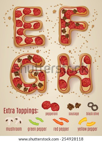 Vector Pizza alphabet.  Hand drawn letters made to look like pizza letters E through H - stock vector
