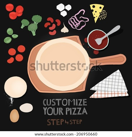 Vector pizza and ingredients for your design  - stock vector