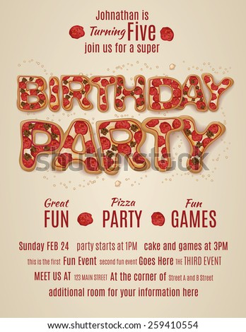 Vector Pizza Party Flyer Invitation Template Stock Vector ...