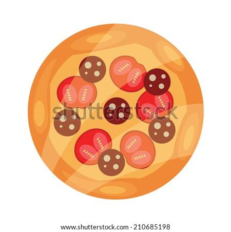 Vector Pizza Flat Icon - stock vector
