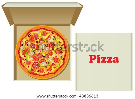 Vector pizza in box and a cardboard pizza box - stock vector