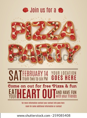 vector pizza party flyer invitation template design - stock vector
