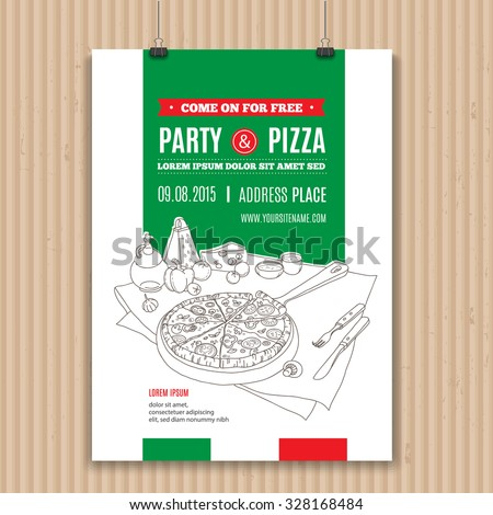 Vector pizza party invitation. Modern hand drawn style for cafe, restaurant, pizzeria. Perfect design concept with fresh pizza, cheese, olive oil, cooking tools, garlic, tomato, vegetables and Basil. - stock vector