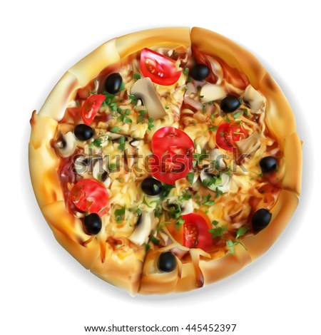 vector, pizza slices, chopped, top view, appetizing, slices, food, fast food, mushrooms, cheese, tomato, dough, black olives, realistic drawing, illustration