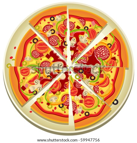 Vector Pizza Slices on the Plate - stock vector