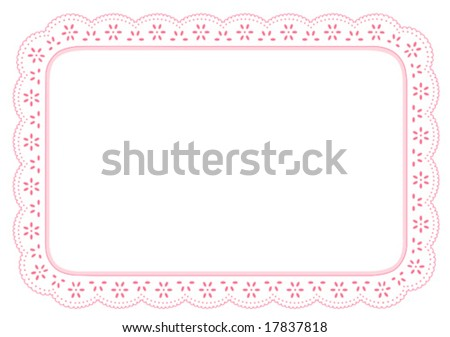 vector - Place Mat, eyelet lace doily. White background with pastel pink border for home decorating, setting table, arts, crafts, scrapbooks backgrounds, cake decorating. Copy space. EPS8. - stock vector