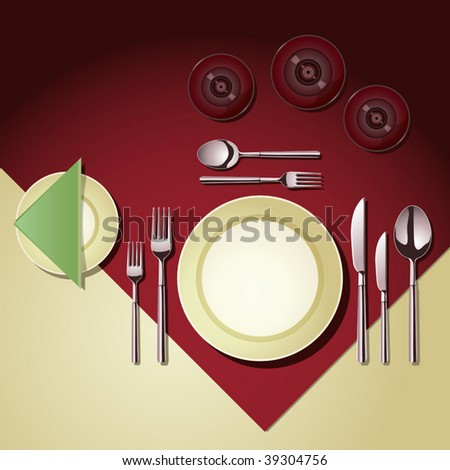 Vector Place Setting - stock vector