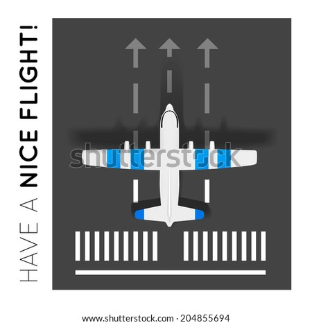 Vector plane on the runway at the airport. Top view - stock vector
