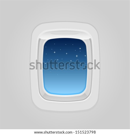 vector plane window at night - Separate layers for easy editing - stock vector