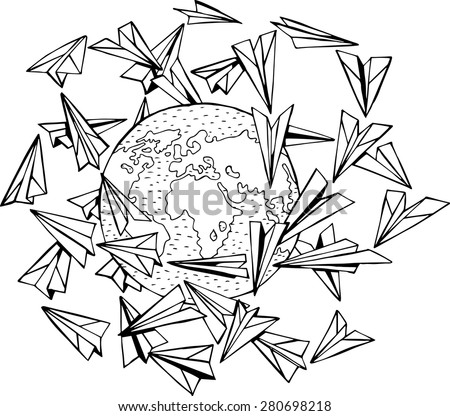 Vector planet and paper planes - stock vector