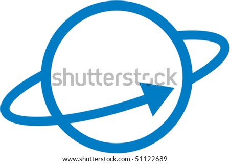 Vector planet orbit illustration - stock vector