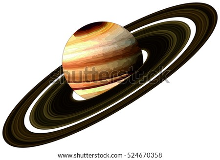 Vector Planet Saturn with rings located in solar system in milky way galaxy endless universe science education discovery concept astronomy astrology infographic scientific fantasy planet surface map
