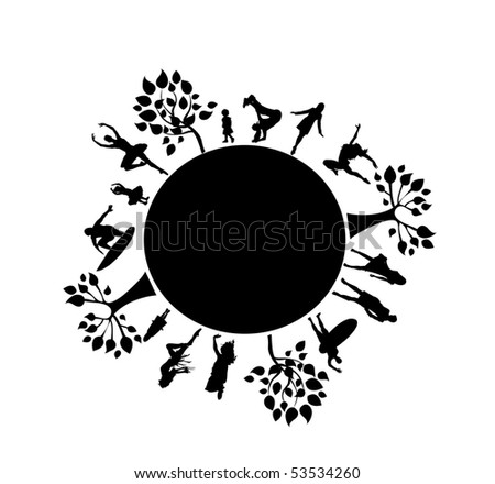 vector planet with people. - stock vector