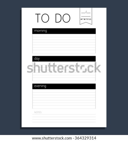 Vector planner template to do list. Blank form organizer and schedule with place for notes - stock vector