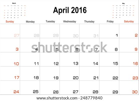 Vector planning calendar  April 2016 - stock vector